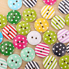 100pcs 15mm Coloré Boutons Bois Point rayures Couture Scrapbooking Wood Buttons