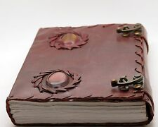Unique leather journal with stone handmade blank book of shadows Wicca diary 7x5