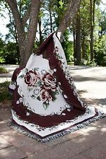 Burgundy Rose Tapestry Throw Rug Blanket - Matching Cushion Covers Listed