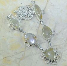"Handmade Natural Rutilated Quartz 925 Sterling Silver Necklace 21.25"" #A84927"