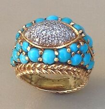 J ROSSI 18K YELLOW GOLD LADIES RING, 27 TURQUOISE CABOCHONS, DIAMOND PAVE, SZ 5+