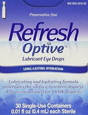 6 Pack - Refresh Optive Lubricant Eye Drop Single Use Container 30 Each
