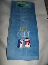 "Christmas Blue Embroidered ""Just chillin"" Penguins Velour Hand Towel NWT"