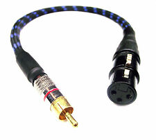 From OZ Quality 35cm XLR 3-Pin Female To RCA Male Mono Plug Cable Blue Braided