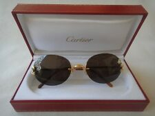 NEW VINTAGE CARTIER SCALA OVAL GOLD RIMLESS SOLID BROWN LENS FRANCE SUNGLASSES