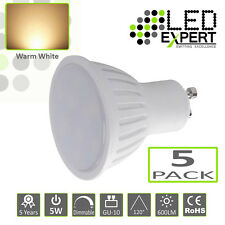 5 x LED Expert 5W GU-10 LED Bulbs Warm White Dimmable Super Bright 5 Year 50w