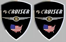 2 adhésifs stickers noir & chrome CHRYSLER PT CRUISER à coller sur portes avant