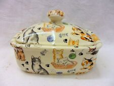 cute cats butterdish by Heron Cross Pottery