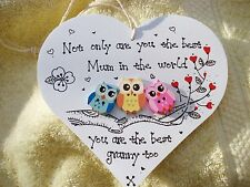 Shabby chic Personalised Handmade Wooden Heart Plaque Gift for Mum nanny granny
