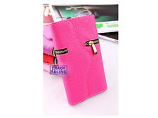 Luxury Magnet Card Coins Flip PU Leather Zip Wallet Pouch Purse Phone Cover Case