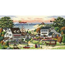 "Gold Collection Cozy Cove Counted Cross Stitch Kit-18""X9"" 18 Count NEW"