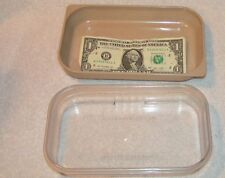 Vintage tan Microwave oven Cooking rectangle 2 cup Dish w/ Lid