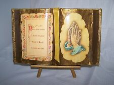 NEW VTG DECOUPAGE BOOK w/ VELVET BOOKMARK & EASEL STAND GOLD HOUSE BLESSING NIB