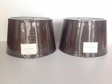 POTTERY BARN SILK TAPERED DRUM LAMP SHADES MEDIUM ESPRESSO SET OF 2 NEW IN BOX