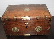 1900s Antique Handmade Brass Fitted Teak Wood jewelery Box with many compartment