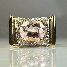 LAURA RAMSEY 14K YELLOW HEAVY GOLD ELEVATED MORGANITE & DIAMOND RING 9.7 GRAM