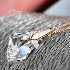 18K ROSE GOLD GF SWAROVSKI CRYSTAL PENDANT NECKLACE