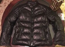 Ralph Lauren Quilted Moto 100% Leather Down & Feathers Jacket Black Sz XL New