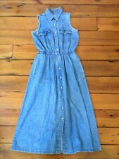 Gap Sleeveless Pearl Snap Cowgirl Western Style Maxi Long Denim Jean Dress S
