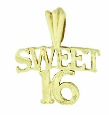 14k Solid Yellow Gold Sweet 16 Pendant Charm Dije Oro 16 Anos  17x15mm