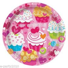 VALENTINE'S DAY Cupcake Hearts LARGE PAPER PLATES (8) ~ Birthday Party Supplies