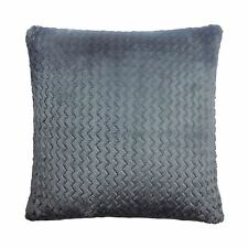 """FILLED CHEVRON SILVER GREY FAUX FUR SUPERSOFT THICK CUSHION 17"""" - 43CM"""
