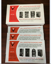 Box 25 Dollar Bill Validator Acceptor Pre-saturated Cleaning Card -ALCOHOL FREE