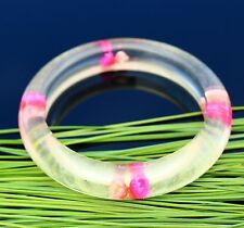 Vivid pink & peach color flowers included in clear lucite bangle vinta BRACELET