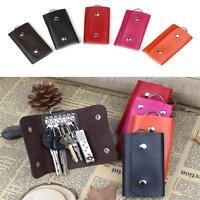 Women&Men Genuine Leather Key Holder Case Key Chain Wallet Key ring Pouch Bag V