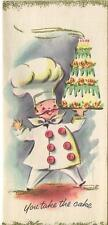 VINTAGE CHEF COOK WHITE HAT BIRTHDAY CAKE BUTTONS ROSES GREETING CARD ART PRINT