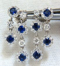 3.30ct Natural Diamonds Sapphire Two Tier Dangle earrings 14kt