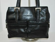 Stone Mountain Black Leather Purse Satchel Dual Straps Front Pockets Nice Style