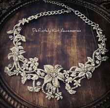Stunning white crystal flower bling vintage cluster collar statement necklace.