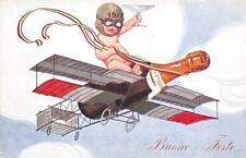 C4156) WW1 AVIAZIONE AUGURALEVITTORIA 1917 BIMBO SU AEREO BOTTIGLIA DI SPUMANTE.