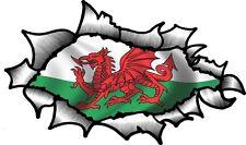 Ovale déchiré déchiré métal pour révéler welsh wales cymru drapeau vinyle autocollant voiture