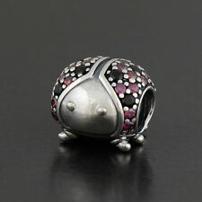 Authentic Genuine Pandora Sterling Silver Sparkling Ladybug Charm - 791484CFR