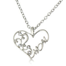 Silver Crystal Flower Heart Mom Pendant Necklace Charm Jewelry Mother Day Gifts