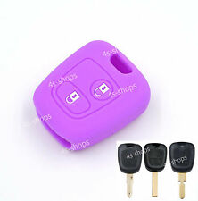 Purple Silicone Key Case Cover For Peugeot 106 206 306 406 107 207 307 407 408