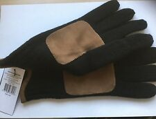 POLO RALPH LAUREN BLACK LUX MERINO WOOL WITH SUEDE PATCH GLOVES SIZE LARGE