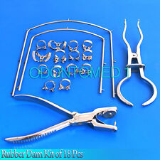 Rubber Dam Kit of 18 Pieces with Frame Punch Clamps Dental Instruments