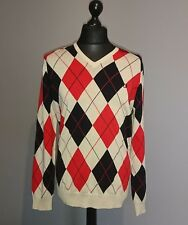 Fred Perry All Over Argyle Sweater Large Golf Style