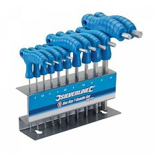 Silverline Hex Key T-Handle Set Hand Tools Screwdrivers with Stand - 10 Pieces