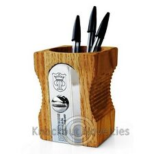 Jumbo Wooden Pencil Sharpener Desk Tidy Pen Holder Storage Organizer Light Wood