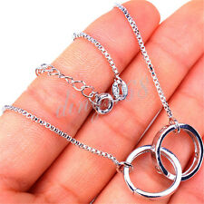 "925 Sterling Silver 15.5"" Chain Necklace +Built-in Double Ring Pendant Set H1067"