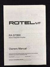Rotel RA970bx Stereo Integrated Amp Owners Manual 5 Pages of English