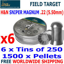 H&N SNIPER MAGNUM .22 5.50mm Airgun Pellets 6(tins)x250pcs FIELD TARGET