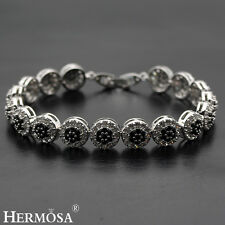 65% Off Charm Flower Black Onyx 925 Sterling Silver Bracelet 7.75""