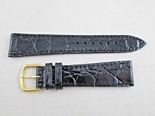 20mm genuine leather crocodile grain watch band strap black stitched made in USA