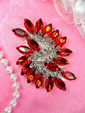 JB234 Marquise Crystal Glass Rhinestone Applique Red Sewing Craft Supplies