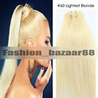 """Hot Clip in Remy Real Human Hair Extensions 15"""" 18"""" 20"""" 22"""" #60 Lightest Blonde"""